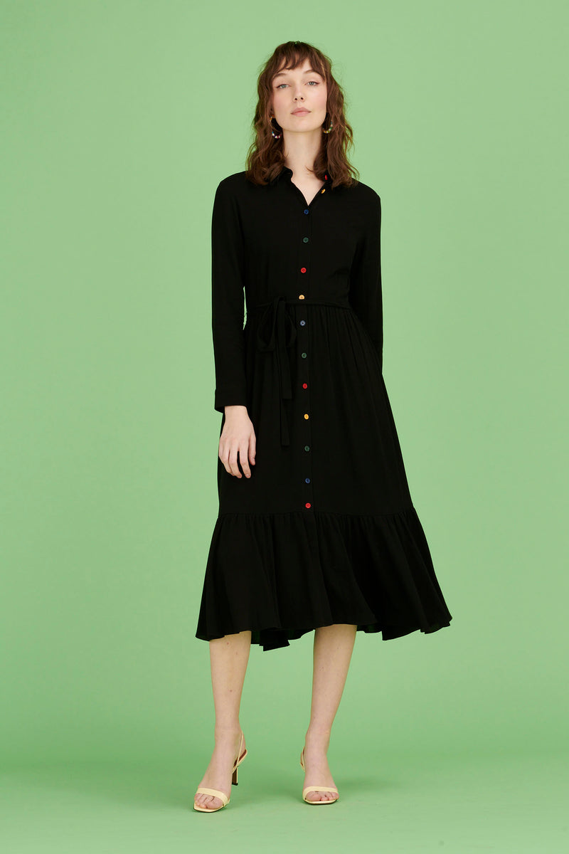 Black w. Rainbow Buttons Jane Button Down Shirt Dress