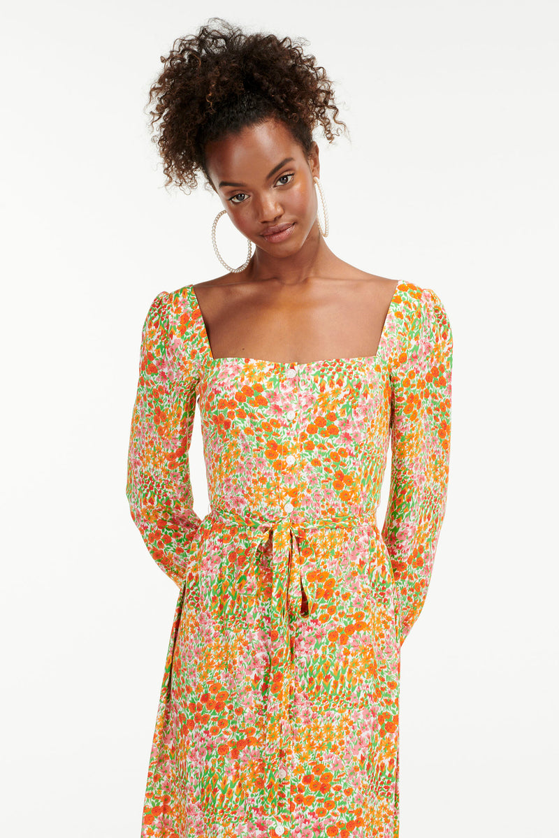 Blooming Garden Eva Square Neck Button Down Dress