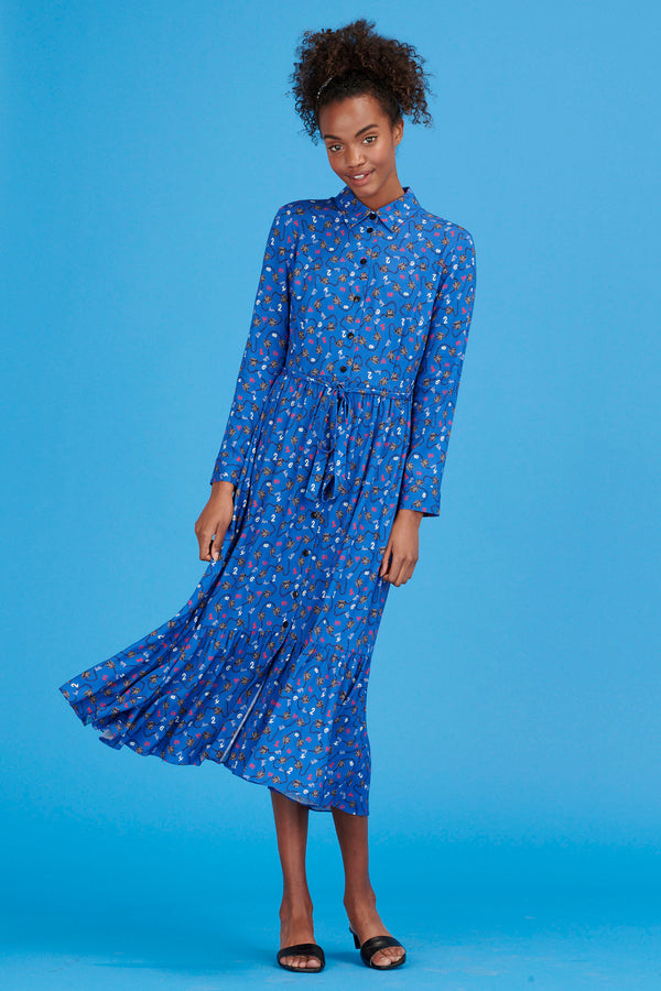 Blue Telephone Jane Button Down Shirt Dress