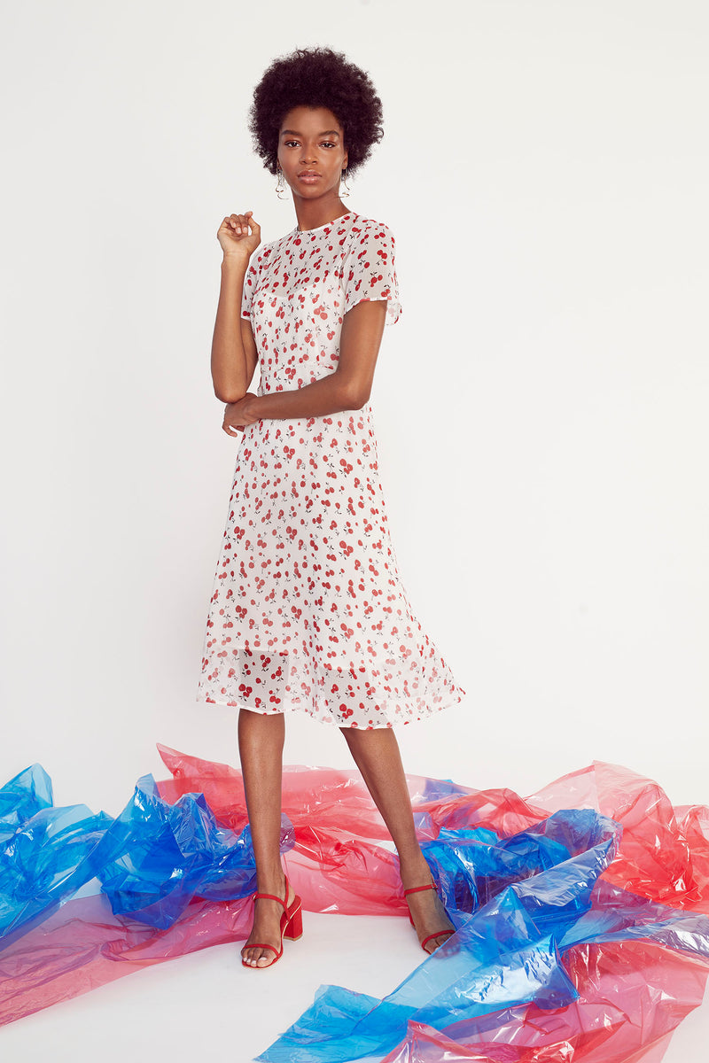 Cherry Lindy Silk Chiffon Dress W. Slip