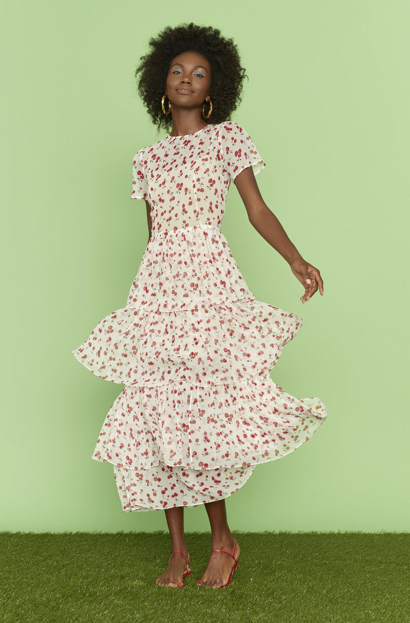 Cherry Brynn Chiffon Tiered Gown