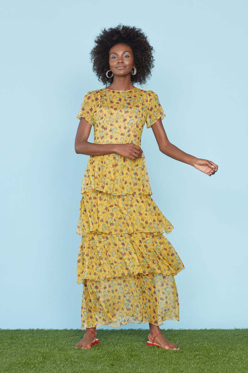 Yellow Tropical Fruit Brynn Chiffon Tiered Gown