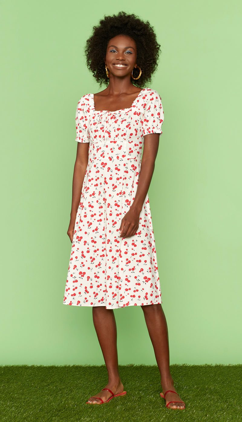 Cherry Holland Bow Tie Cotton Dress