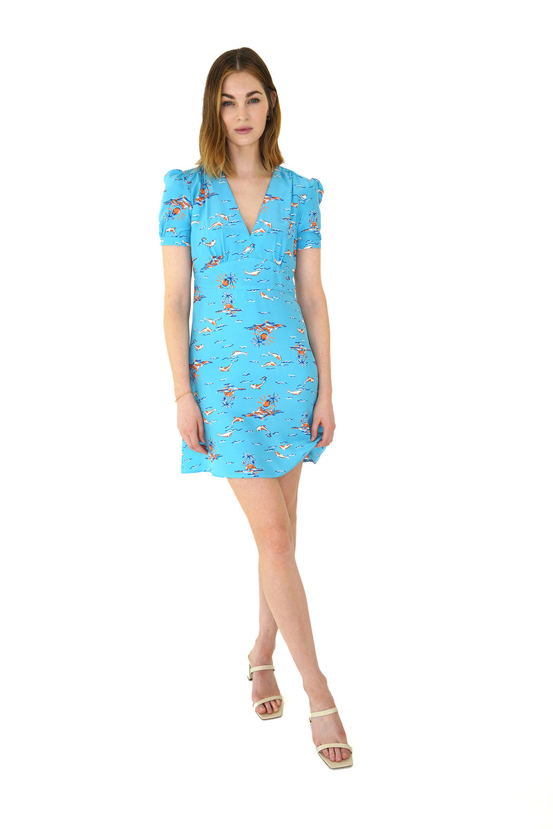 Turquoise Dolphin Mini Paula Deep V Neck Dress