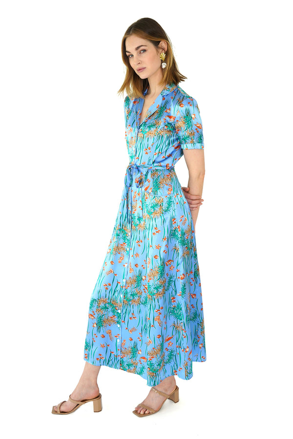 Shiny Under The Sea Long Maria Dress