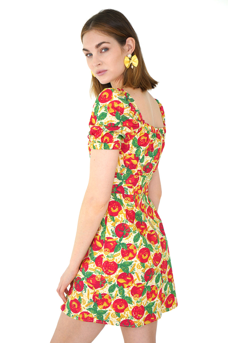Pasta Mini Holland Bow Tie Cotton Dress