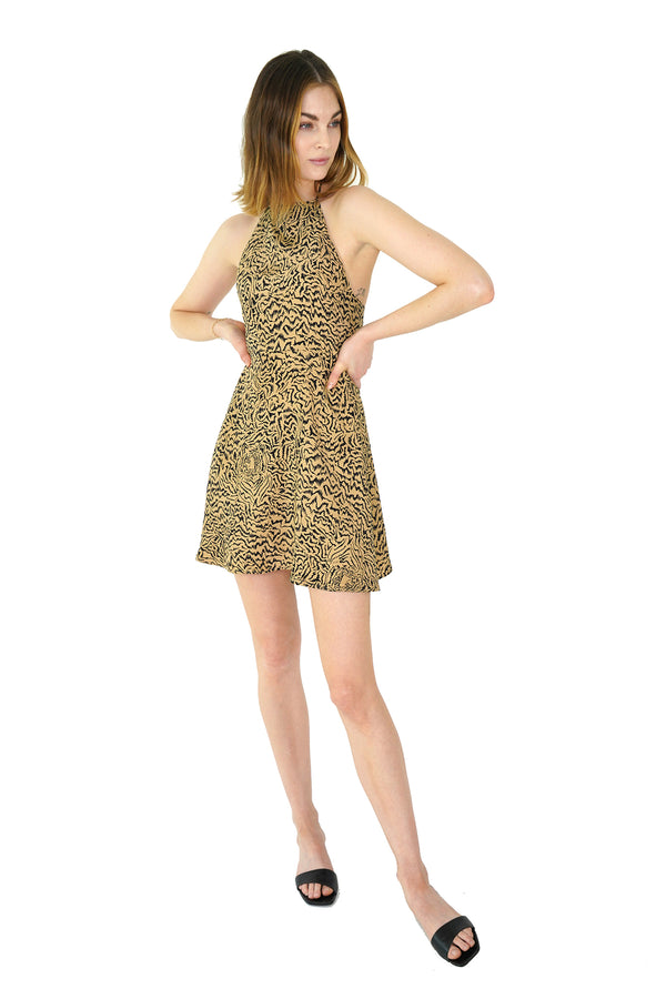 Brown Tiger Mini Reece Halter Back Dress
