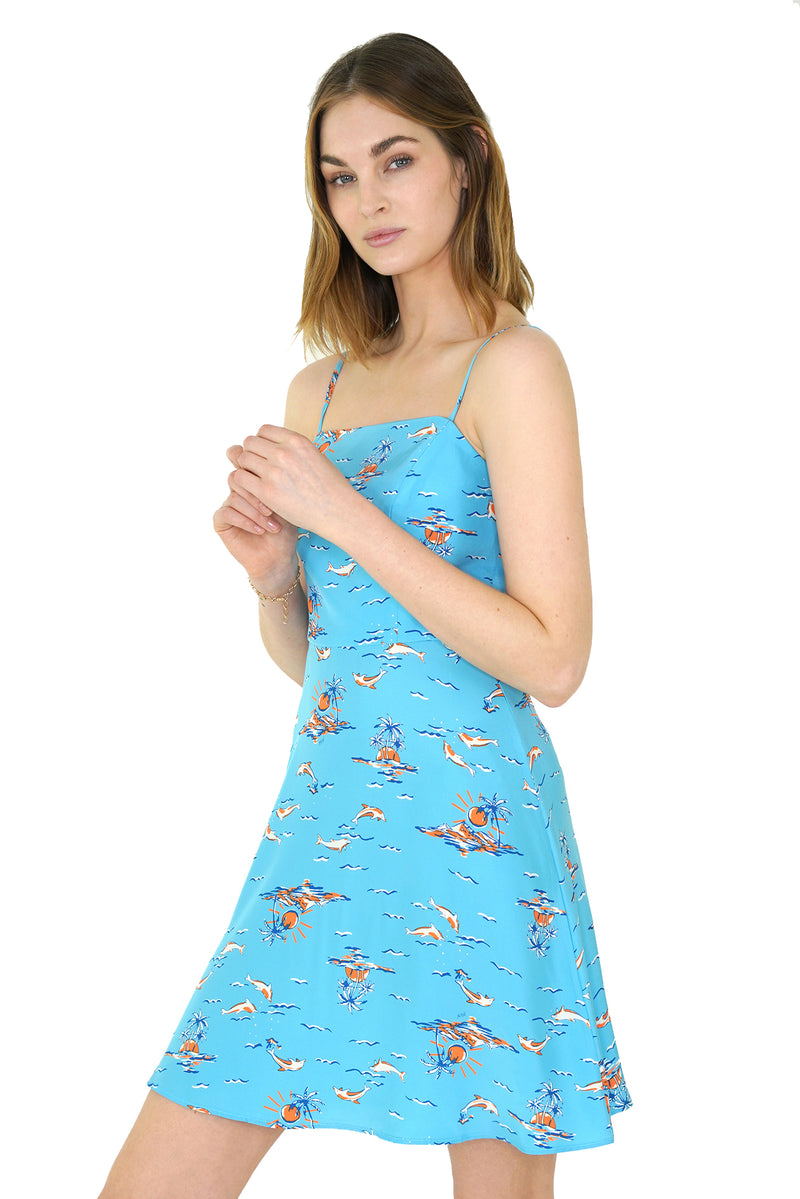 Turquoise Dolphin Mini Nora Dress