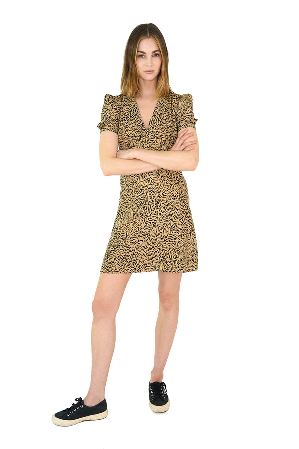 Brown Tiger Mini Paula Deep V Neck Dress
