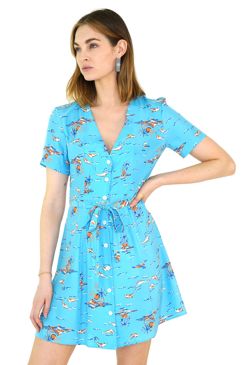 Turquoise Dolphin Mini Rosemary Dress