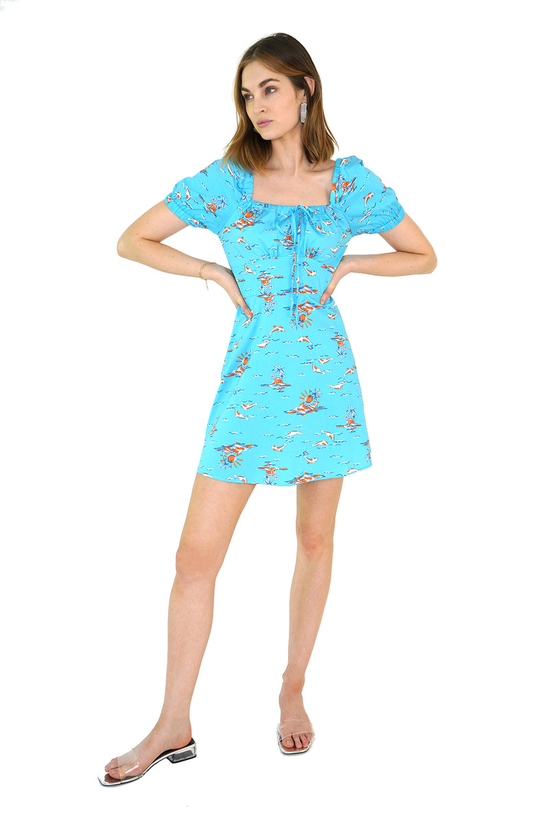 Turquoise Dolphin Mini Holland Bow Tie Cotton Dress