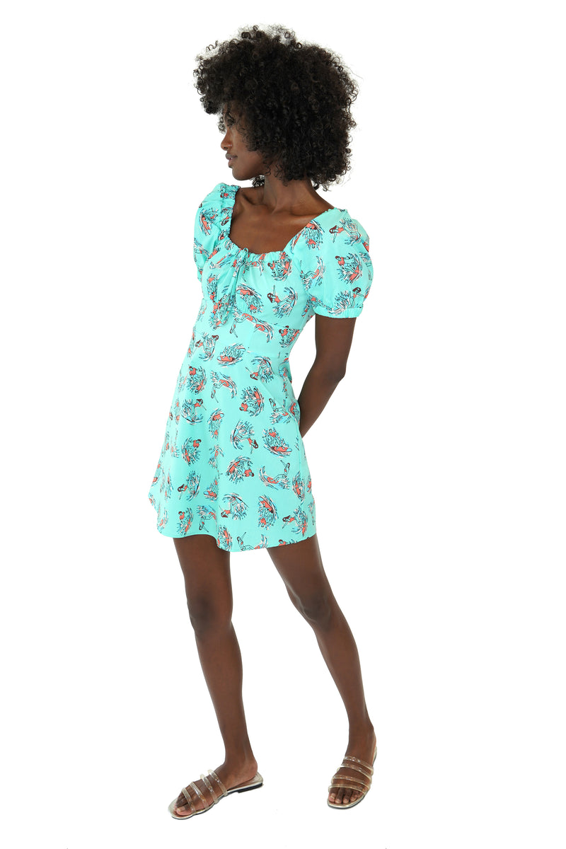 Mint Surfer Mini Holland Bow Tie Cotton Dress