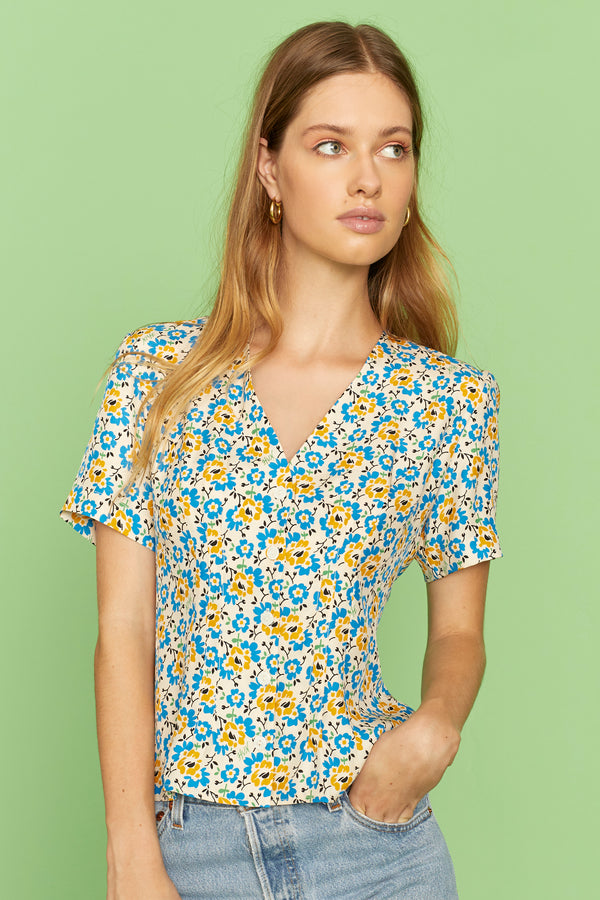 Blue Orange Flower Dylan Short Sleeve Top