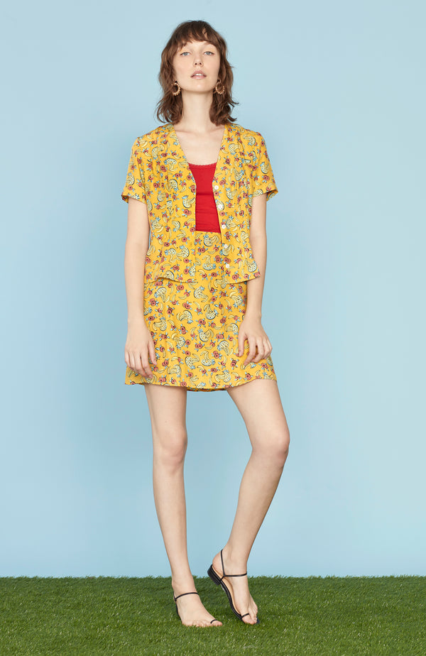 Yellow Tropical Fruit Dylan Short Sleeve Top
