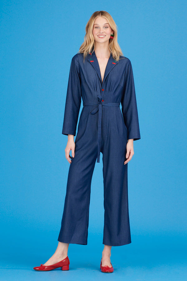 Denim w. Cherry Embroidery Gia Jumpsuit