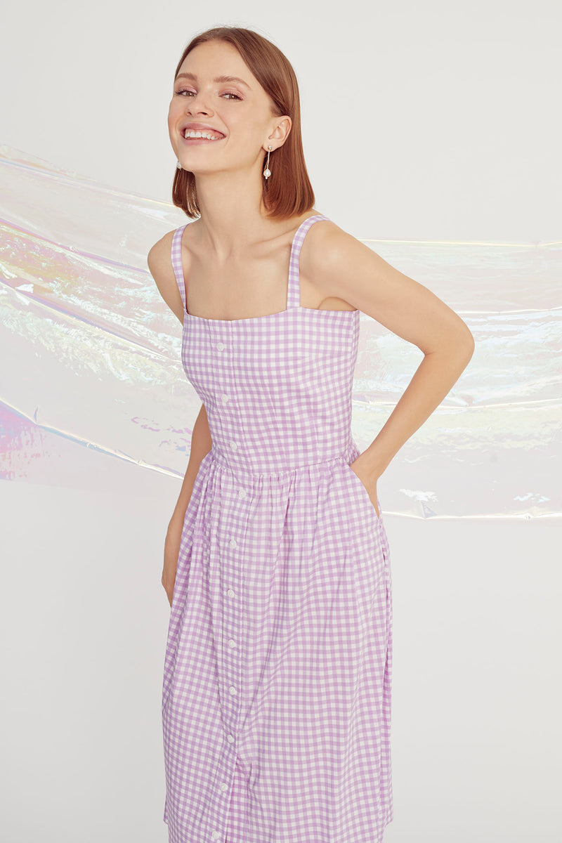 Purple Gingham Laura Dress