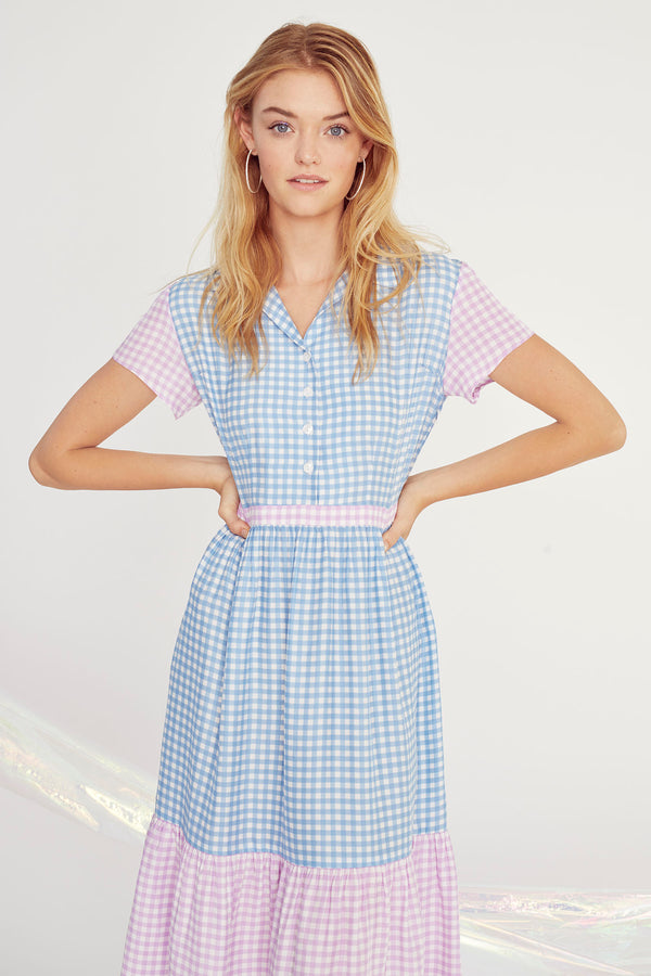 Combo Blue & Purple Gingham Charlotte Dress