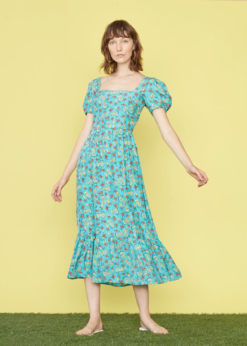 Turquoise Tropical Fruit Silk Fromer Dress