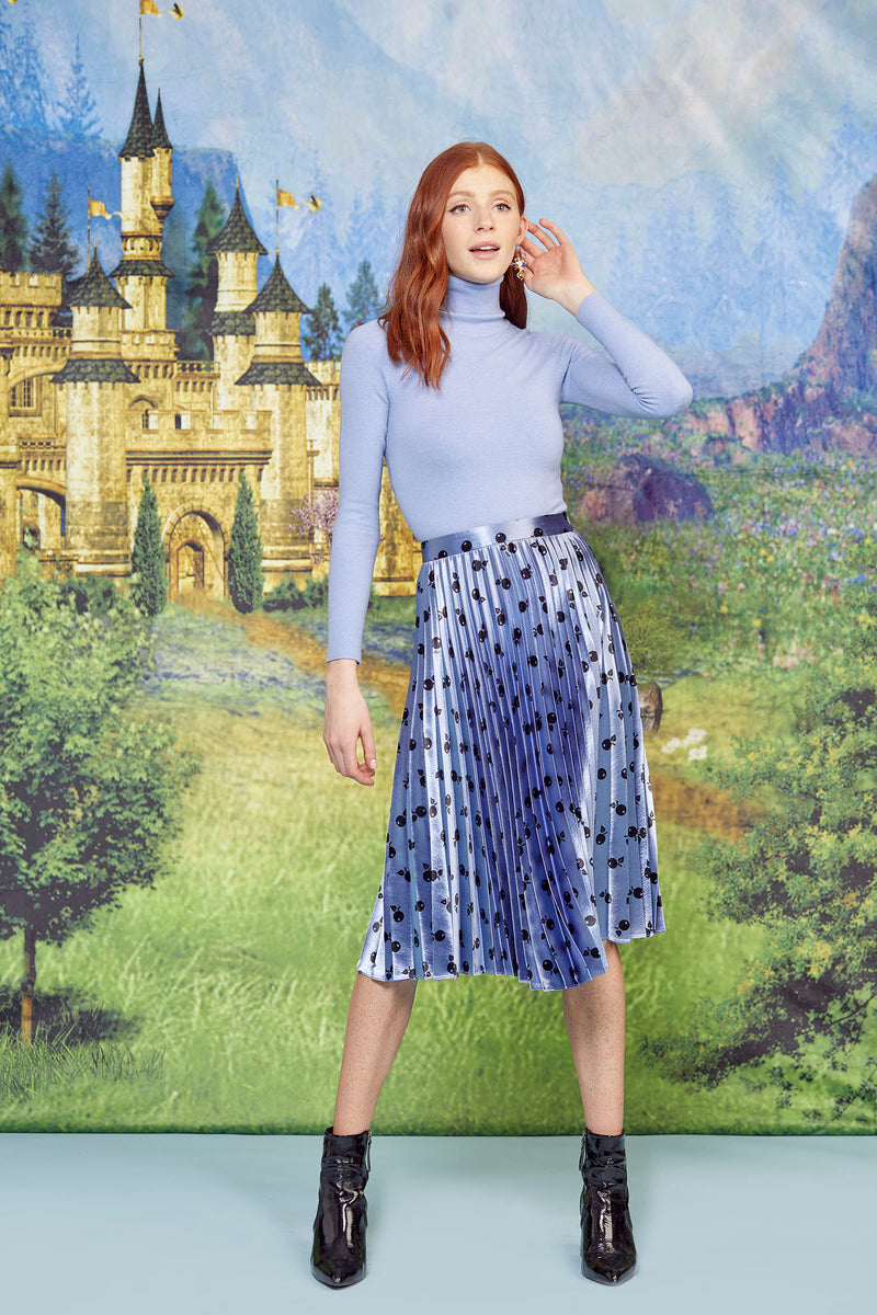 Metallic Blue Cherry Tracy Pleated Skirt