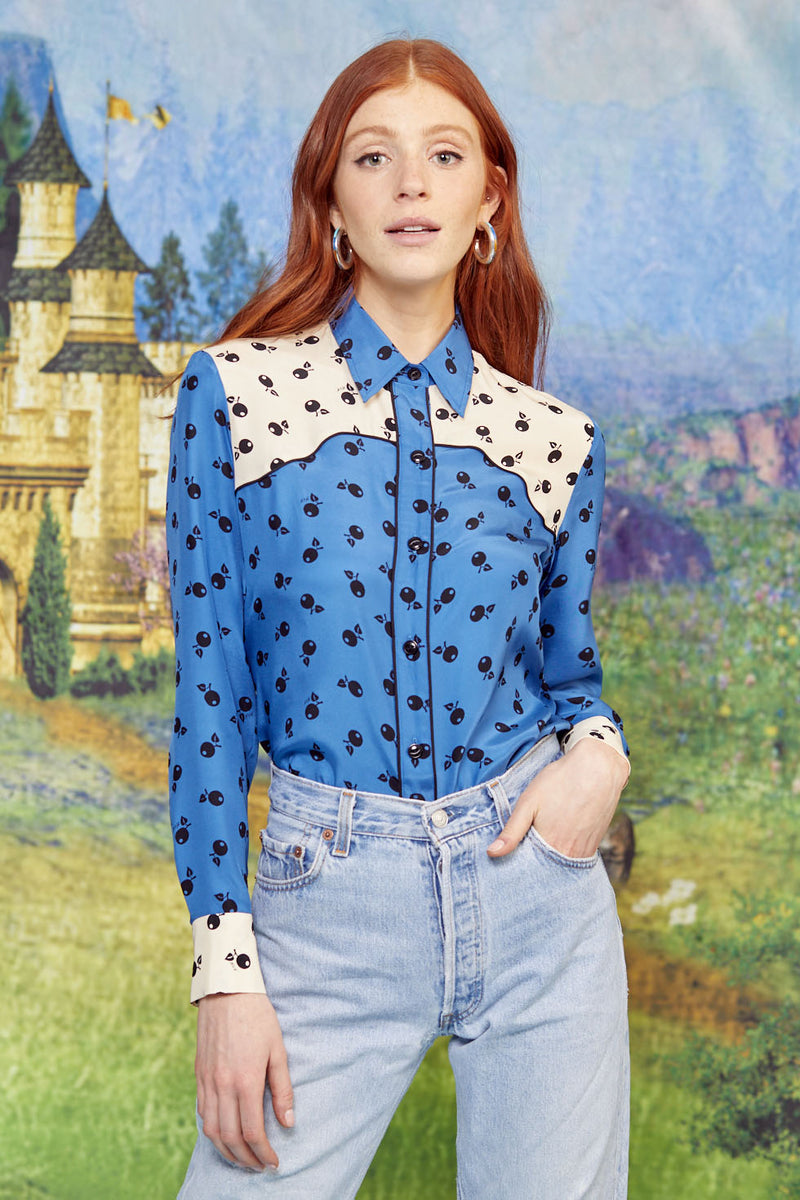 Combo Graphic Cherry Kate Western Shirt