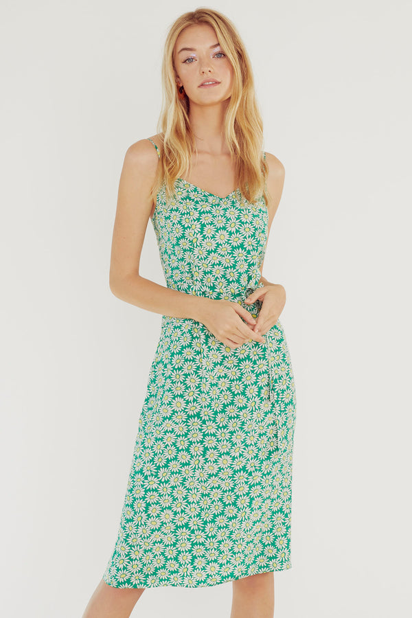 Green Daisy Lily Slip Dress