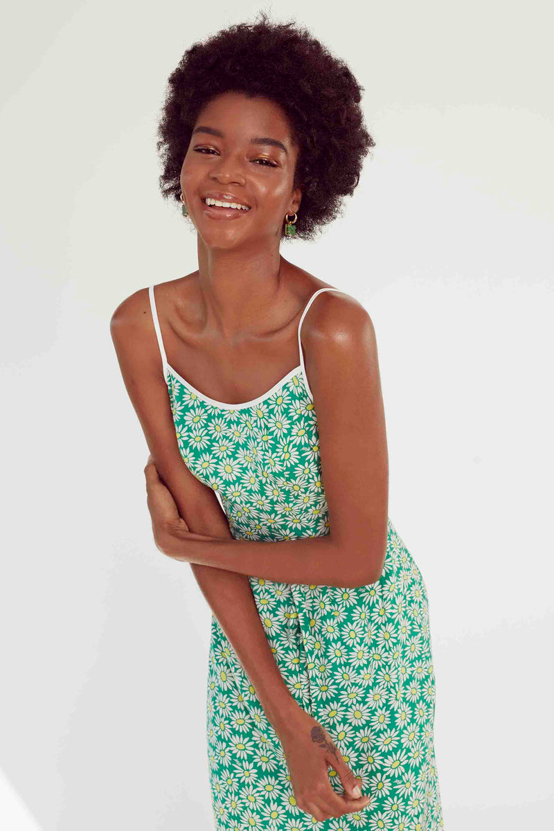 Green Daisy Susan Round Neck Slip Dress
