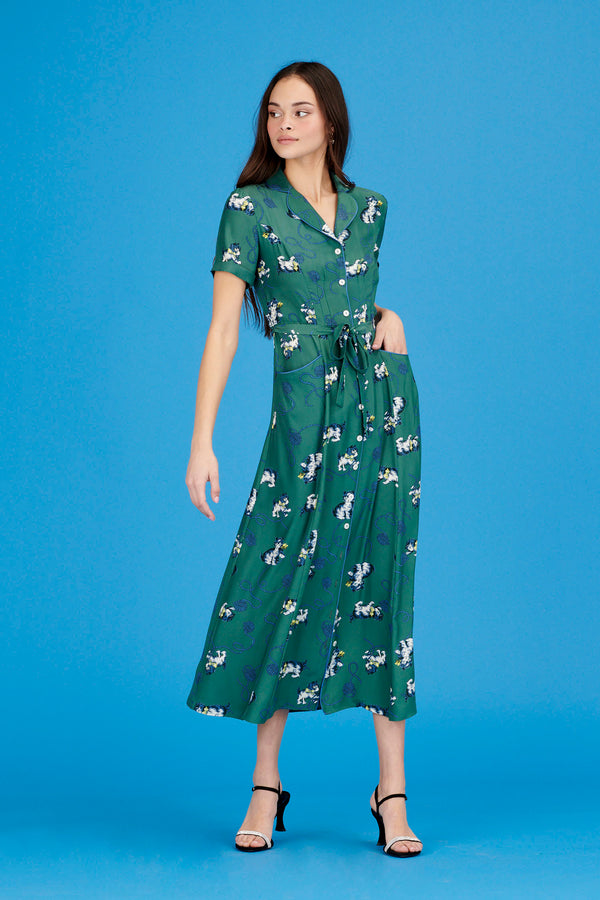 Green Kitten Long Maria Dress