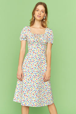 Rainbow Boat Holland Bow Tie Cotton Dress