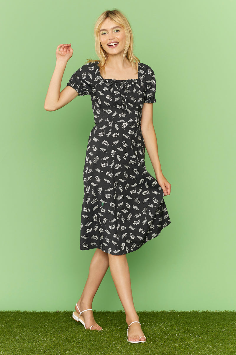 Leopard Holland Bow Tie Cotton Dress