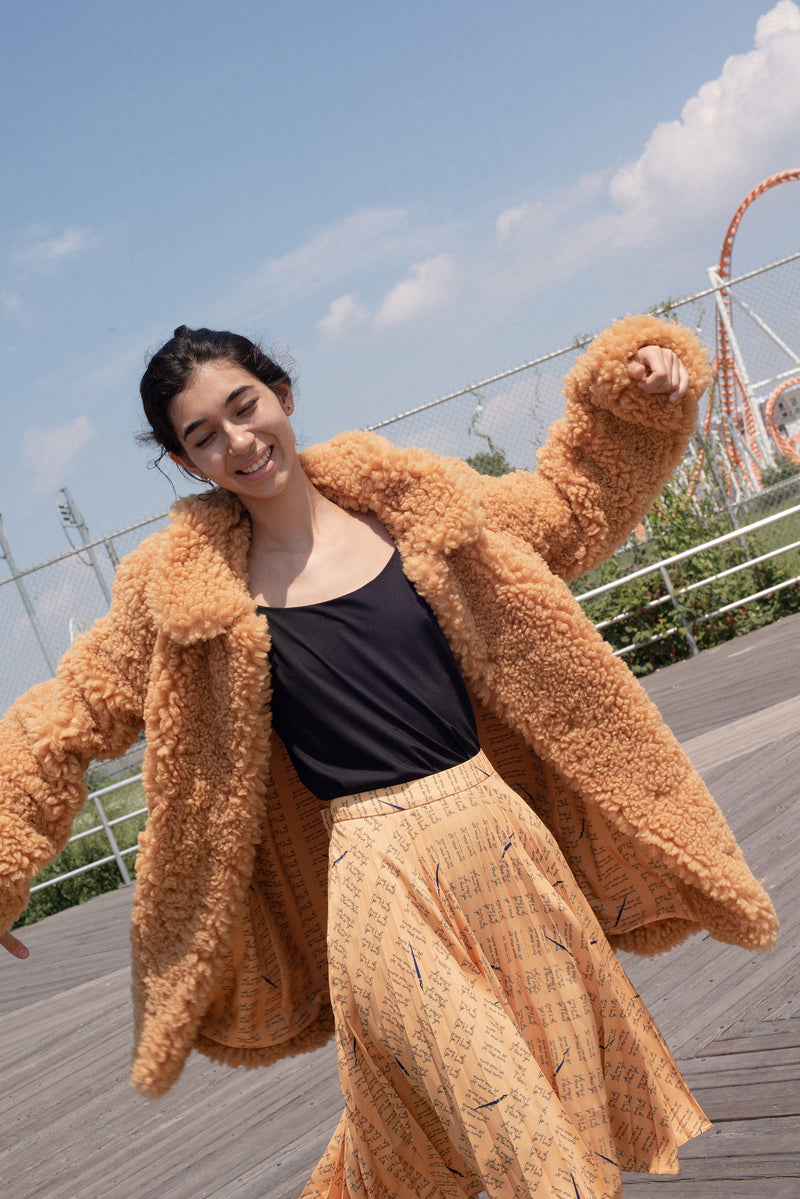 Curly Yellow Courtney Faux Shearling Coat