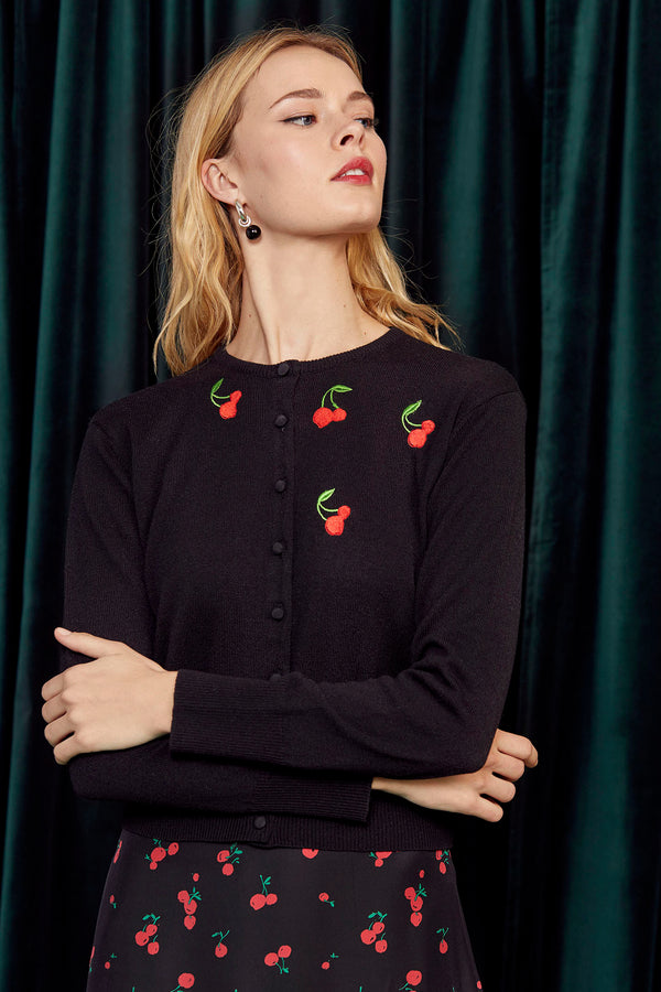 Black Cherry Embroidered Laura Cardigan