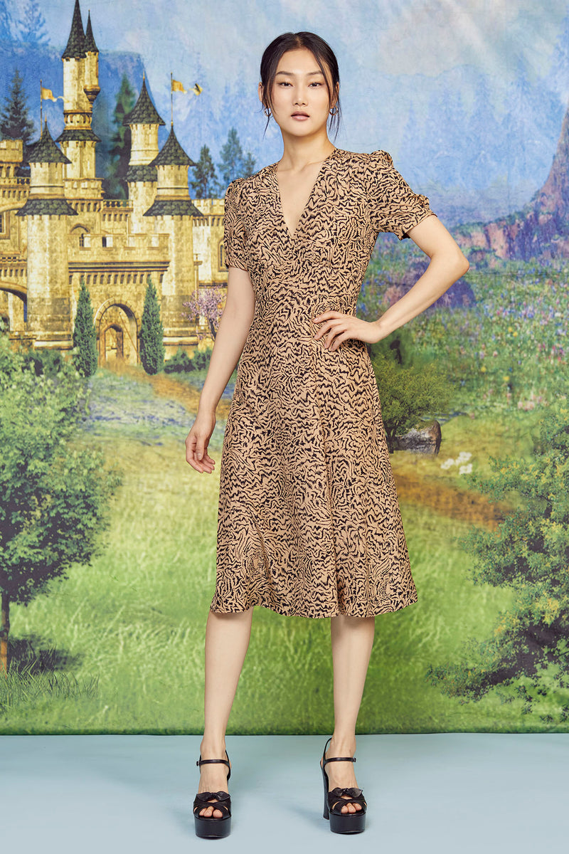 Brown Tiger Paula Deep V Neck Dress