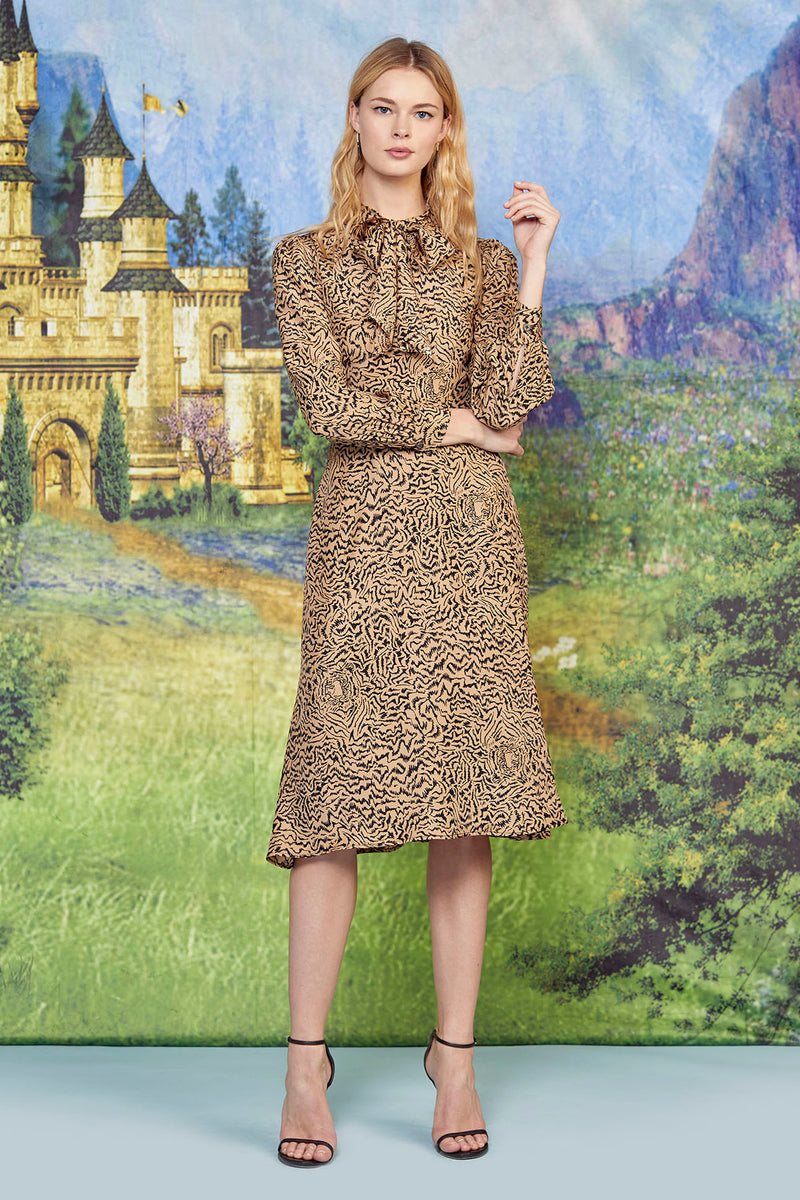 Brown Tiger Elisa Scarf Dress