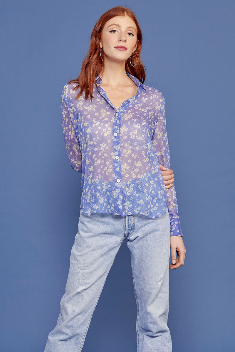 Purple Wildflower Silk Chiffon Cristina Blouse