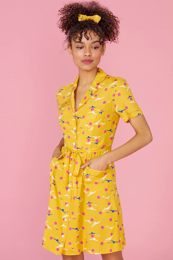 Yellow Seagull Mini Maria Button Down Dress