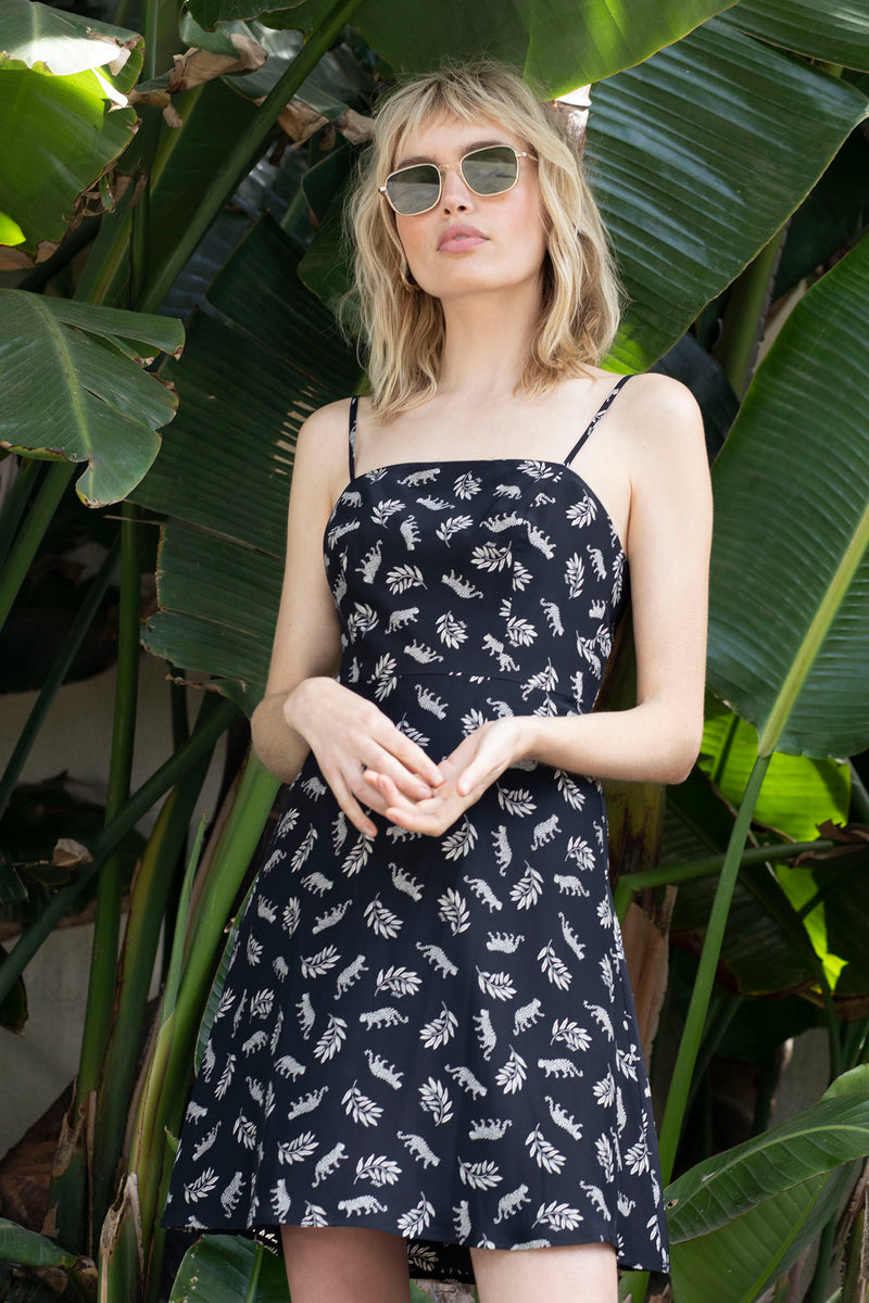 Tarzan Black Leopard Mini Nora Bias Dress