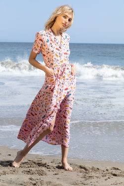 Pink Miami Long Maria Pajama Dress