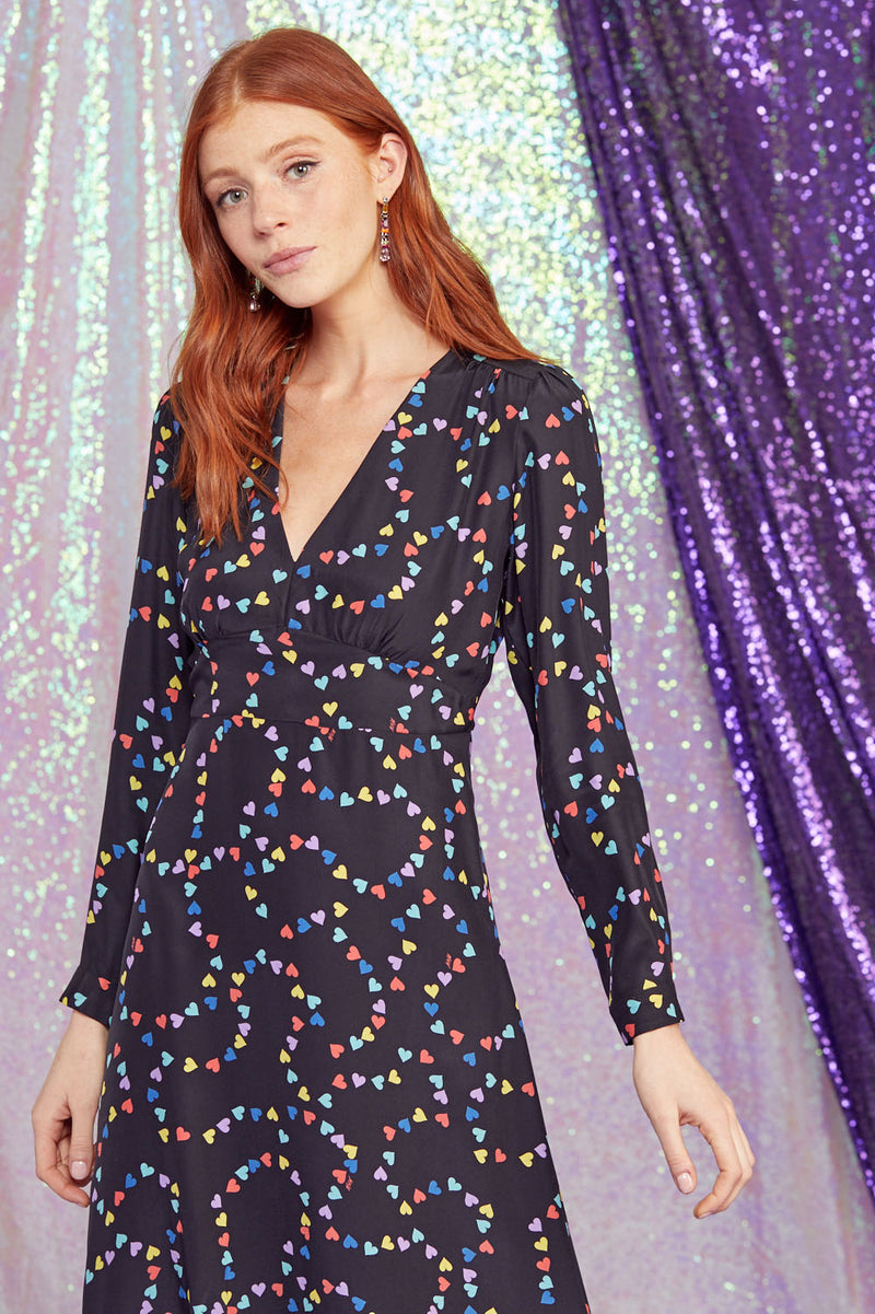 Rainbow String of Hearts Hoover Deep V Neck Long Sleeve