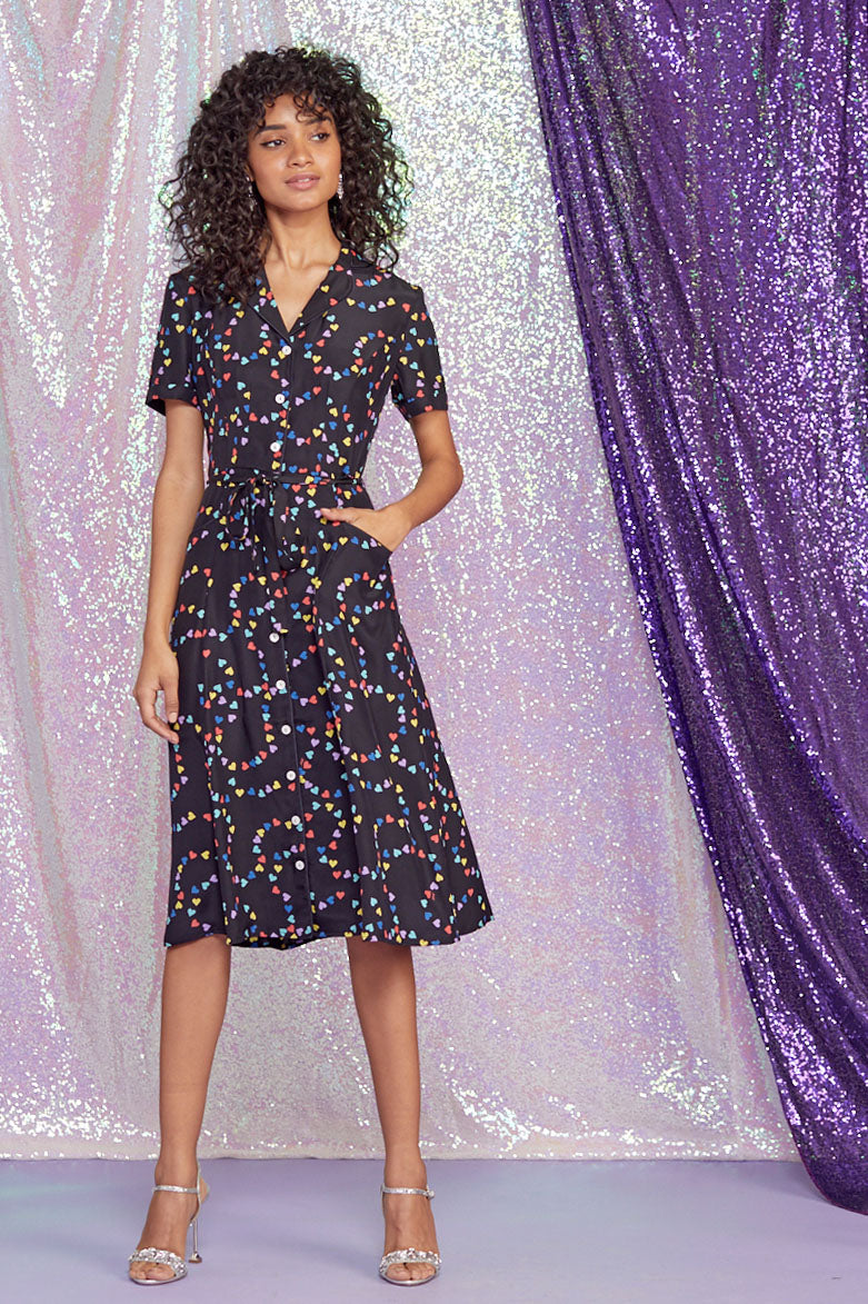 Rainbow String of Hearts Maria Dress