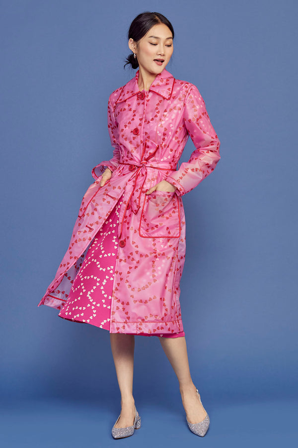 Hot Pink String of Hearts Jen Trench Rain Coat