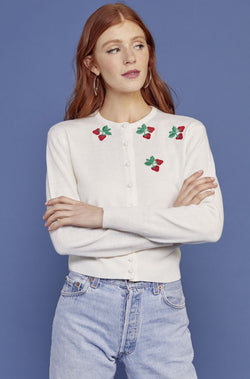 White Strawberry Embroidered Laura Cardigan