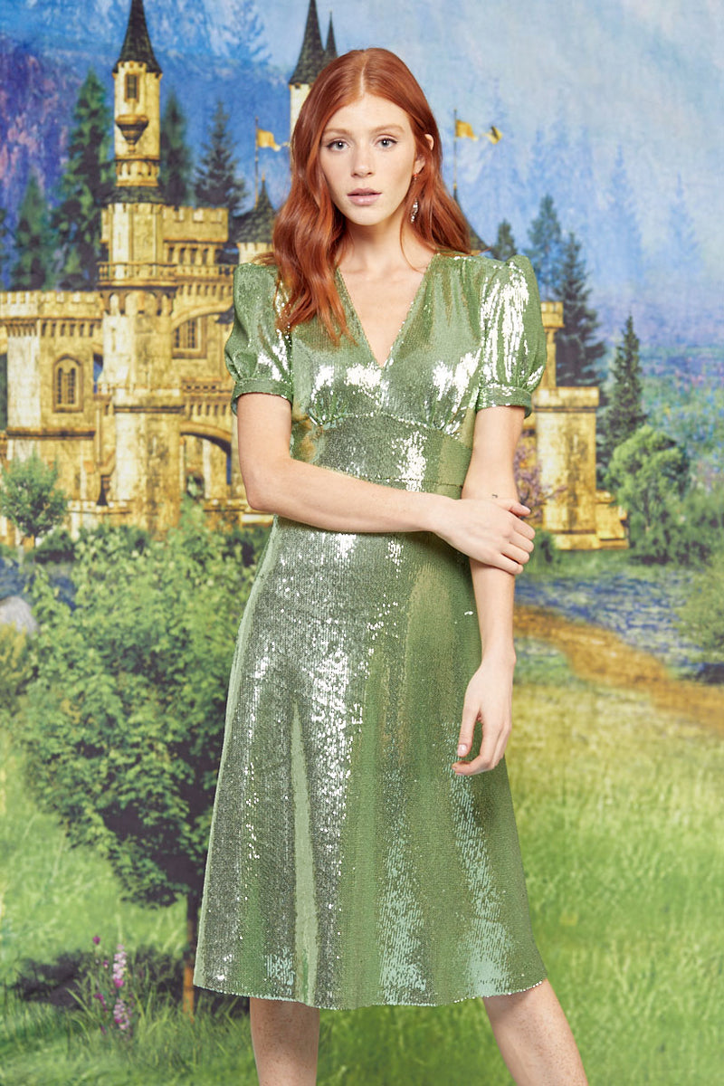 Green Sequin Paula Deep V Neck Dress