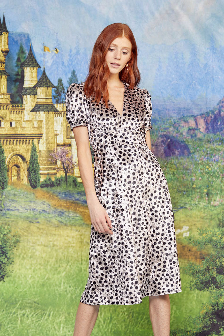 Velvet Leopard Paula Deep V Neck Dress