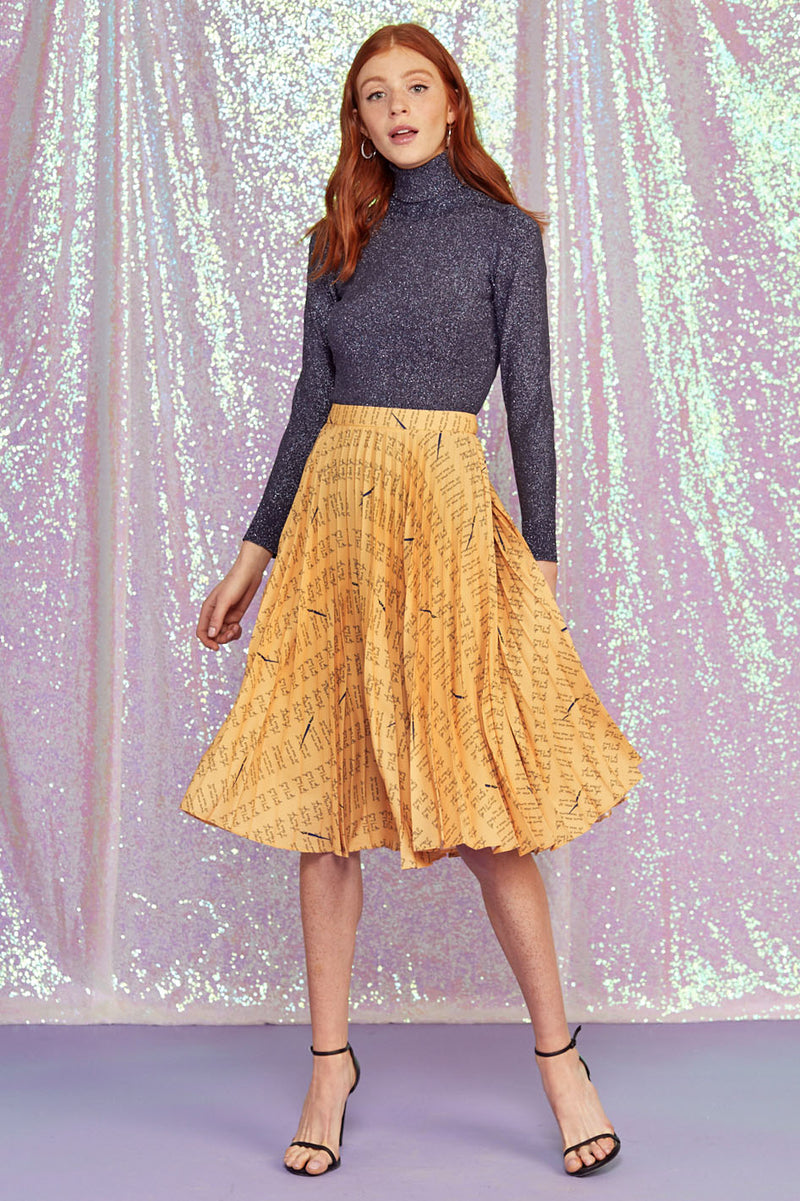 Yellow Love Notes Tracy Pleated Skirt