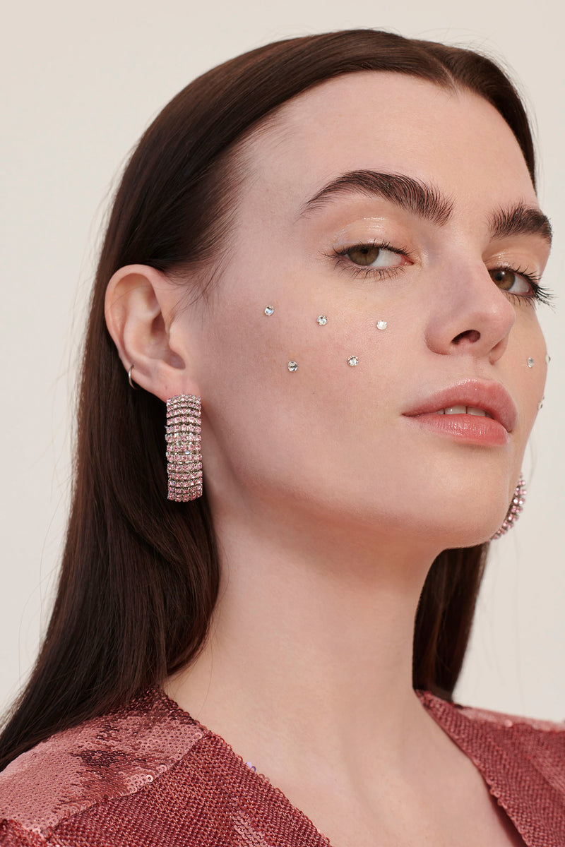 Pink Jupiter Rhinestone Earrings