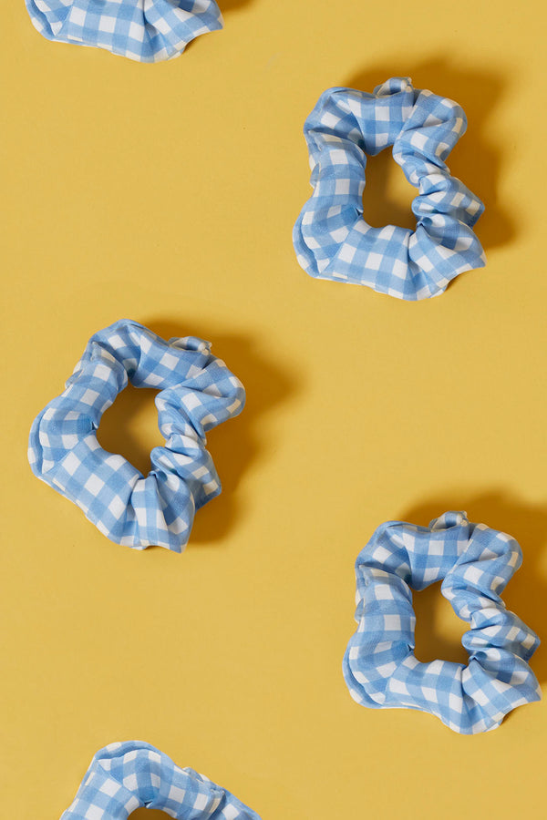 Blue Gingham Silk Scrunchie