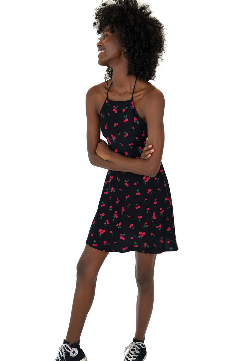 Black Cherry Mini Reece Halter Back Dress
