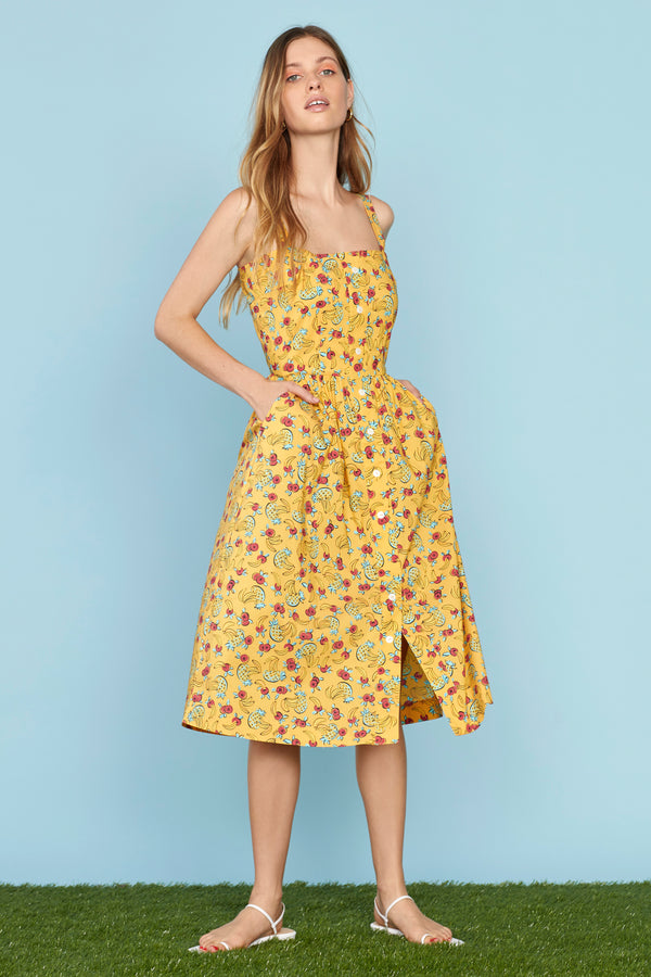 Yellow Tropical Fruit Laura Cotton Dress