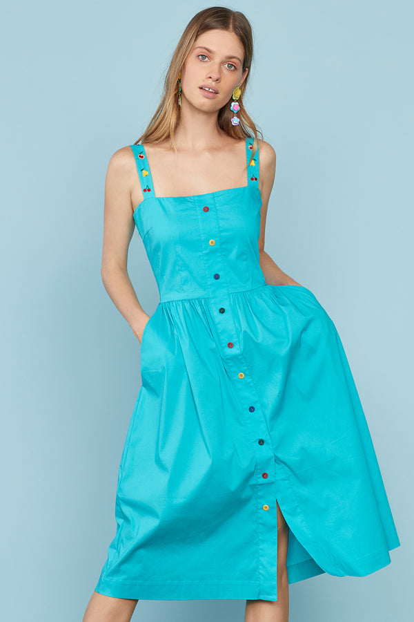 Aqua Laura Cotton Dress W. Fruit Embroidery
