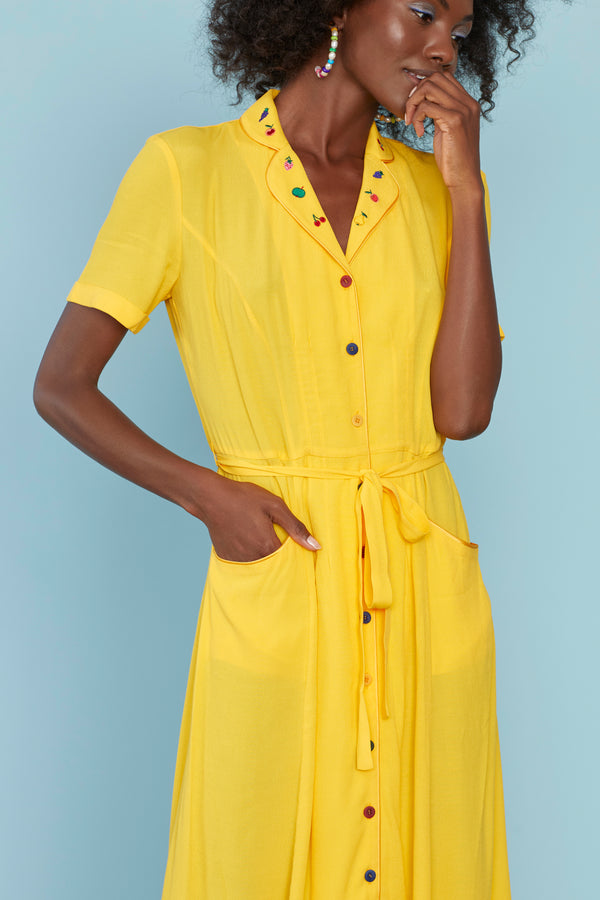 Yellow with Fruit Embroidery Maria Dress